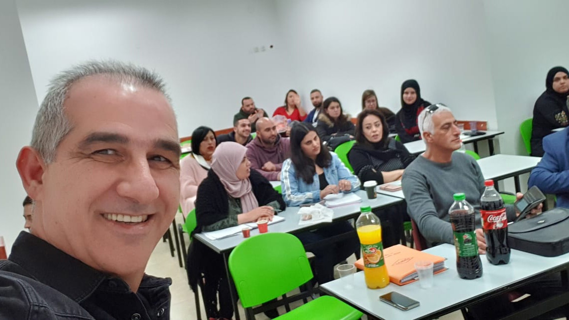 Yehuda Zafrani, tourism and aviation expert with his class in the israeli Arab city of